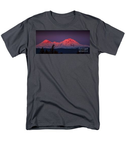 Morning Dawn On Two Of Three Sisters Mountain Tops In Oregon Men's T-Shirt  (Regular Fit) by Jerry Cowart