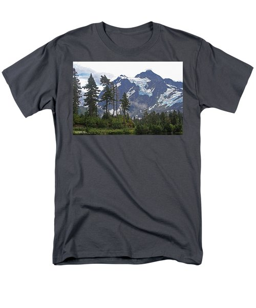 Men's T-Shirt  (Regular Fit) featuring the photograph Mount Baker And Fir Trees And Glaciers And Fog by Tom Janca