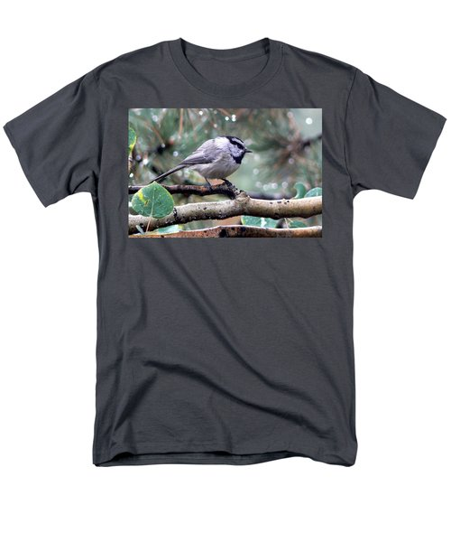 Mountain Chickadee On A Rainy Day Men's T-Shirt  (Regular Fit) by Marilyn Burton