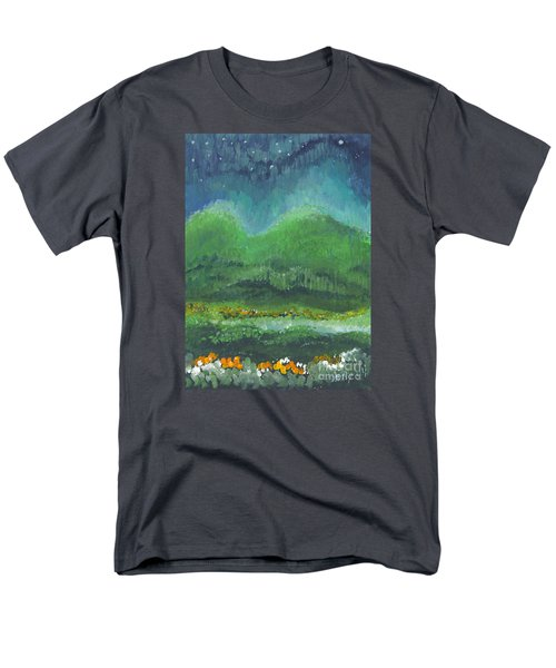Men's T-Shirt  (Regular Fit) featuring the painting Mountains At Night by Holly Carmichael