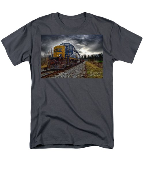 Moving Along In A Train Engine Men's T-Shirt  (Regular Fit) by Melissa Messick