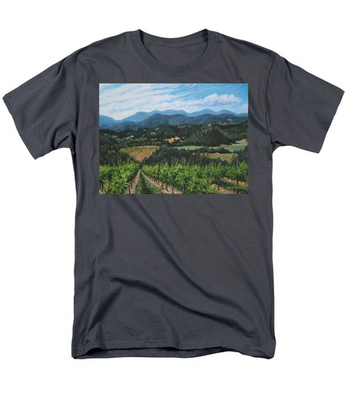 Men's T-Shirt  (Regular Fit) featuring the painting Napa Valley Vineyard by Penny Birch-Williams