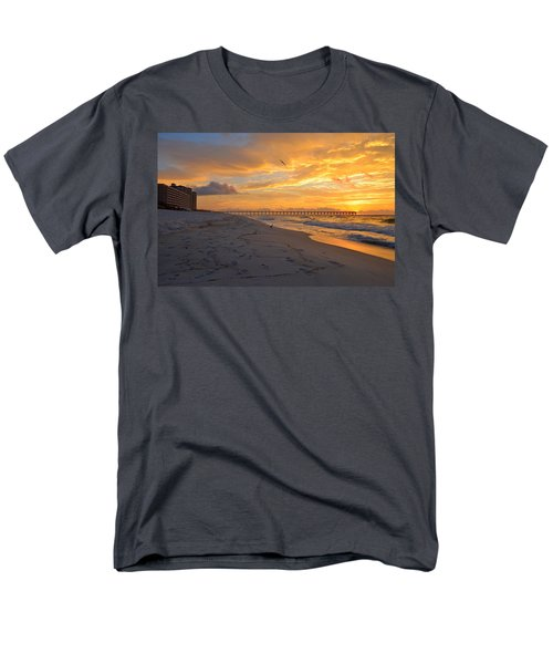 Navarre Pier And Navarre Beach Skyline At Sunrise With Gulls Men's T-Shirt  (Regular Fit) by Jeff at JSJ Photography