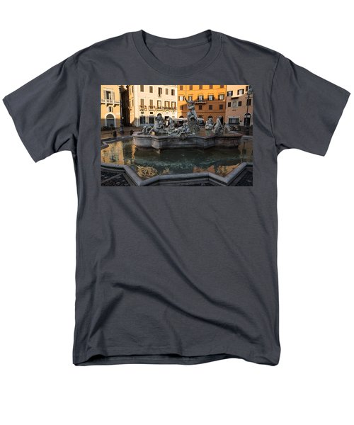 Men's T-Shirt  (Regular Fit) featuring the photograph Neptune Fountain Rome Italy by Georgia Mizuleva