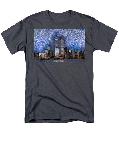 New York City Blue And White Skyline Men's T-Shirt  (Regular Fit) by Georgi Dimitrov