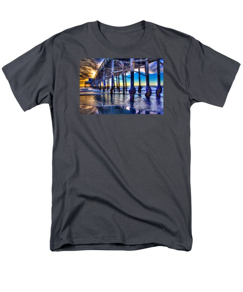 Men's T-Shirt  (Regular Fit) featuring the photograph Newport Beach Pier - Low Tide by Jim Carrell