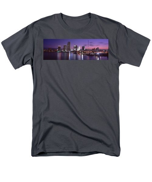 Night Skyline Miami Fl Usa Men's T-Shirt  (Regular Fit) by Panoramic Images