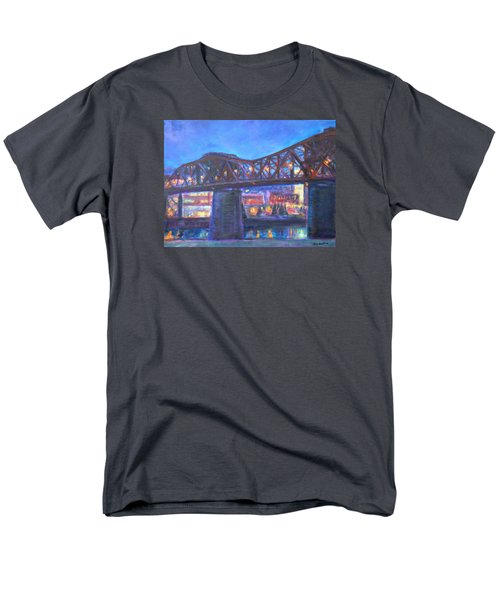 City At Night Downtown Evening Scene Original Contemporary Painting For Sale Men's T-Shirt  (Regular Fit) by Quin Sweetman