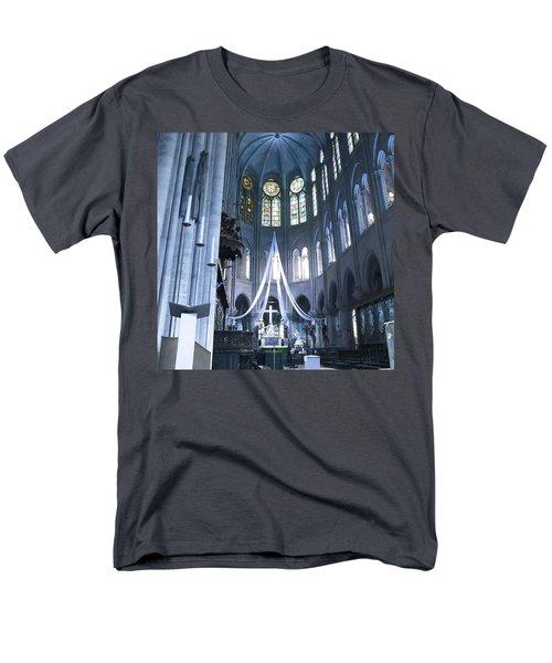 Notre Dame Altar Teal Paris France Men's T-Shirt  (Regular Fit) by Evie Carrier