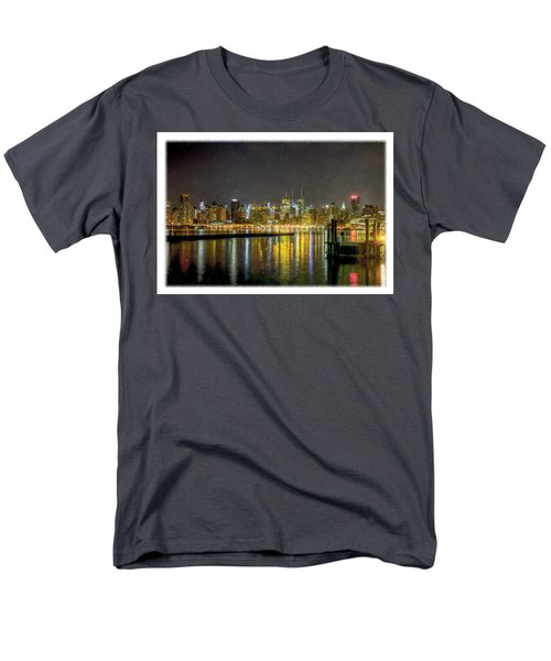 Nyc At Night Faux Oil Men's T-Shirt  (Regular Fit)