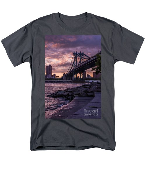 Nyc- Manhatten Bridge At Night Men's T-Shirt  (Regular Fit) by Hannes Cmarits