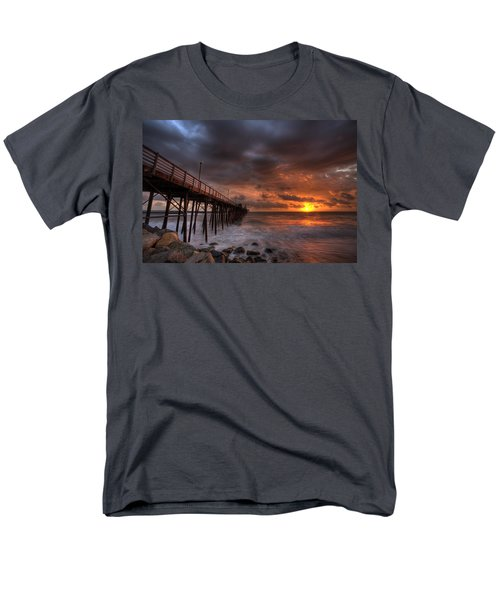 Men's T-Shirt  (Regular Fit) featuring the photograph Oceanside Pier Perfect Sunset by Peter Tellone