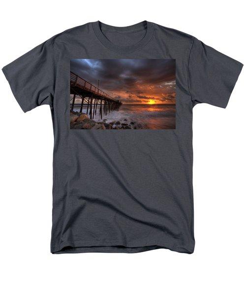 Oceanside Pier Perfect Sunset Men's T-Shirt  (Regular Fit) by Peter Tellone