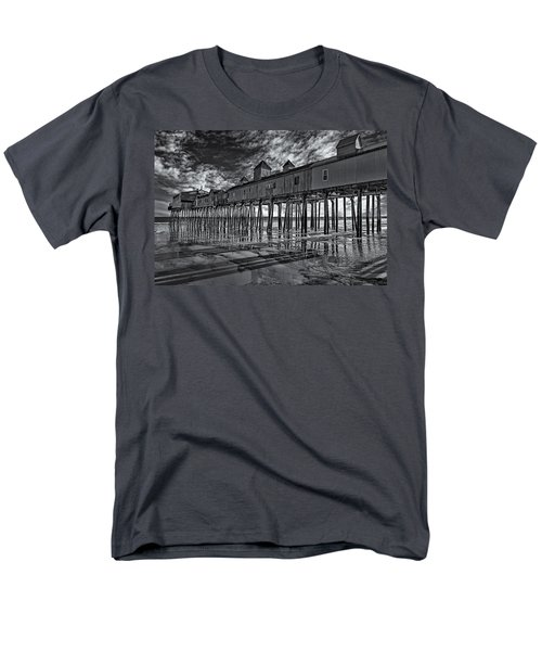 Old Orchard Beach Pier Bw Men's T-Shirt  (Regular Fit) by Susan Candelario