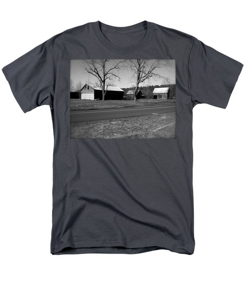 Old Red Barn In Black And White Men's T-Shirt  (Regular Fit) by Amazing Photographs AKA Christian Wilson