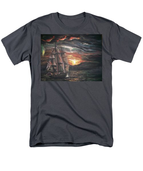 Men's T-Shirt  (Regular Fit) featuring the pastel Old Ship Of The Sea by Peter Suhocke