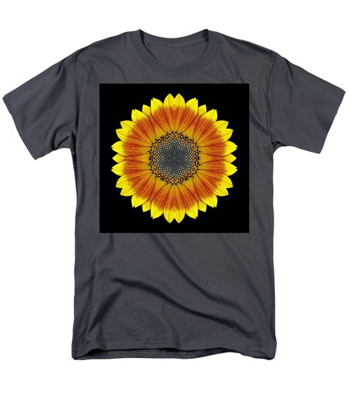 Orange And Yellow Sunflower Flower Mandala Men's T-Shirt  (Regular Fit)