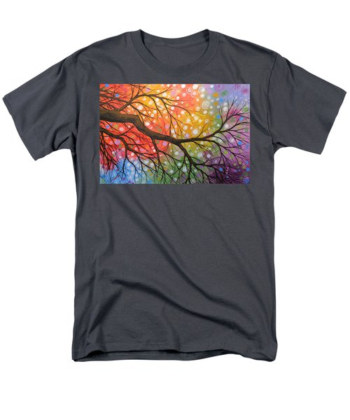 Men's T-Shirt  (Regular Fit) featuring the painting Original Abstract Painting Landscape Print ... Bursting Sky by Amy Giacomelli