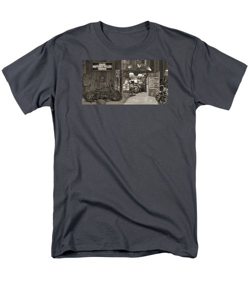 Outside The Old Motorcycle Shop - Spia Men's T-Shirt  (Regular Fit) by Mike McGlothlen