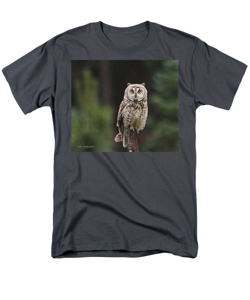 Men's T-Shirt  (Regular Fit) featuring the photograph Owl In The Forest Visits by Tom Janca