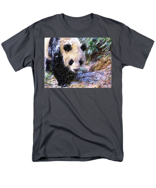 Men's T-Shirt  (Regular Fit) featuring the painting Panda Bear Walking In Forest by Lanjee Chee