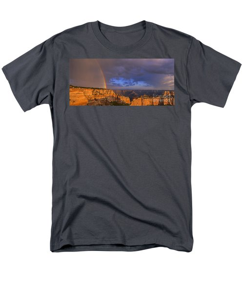 Men's T-Shirt  (Regular Fit) featuring the photograph Panorama Rainbow Over Cape Royal North Rim Grand Canyon National Park by Dave Welling
