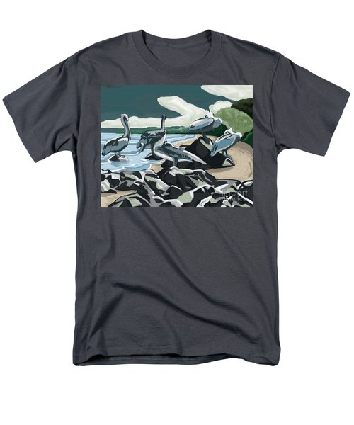 Men's T-Shirt  (Regular Fit) featuring the painting Pelicans And Friends At Seashore by Tim Gilliland