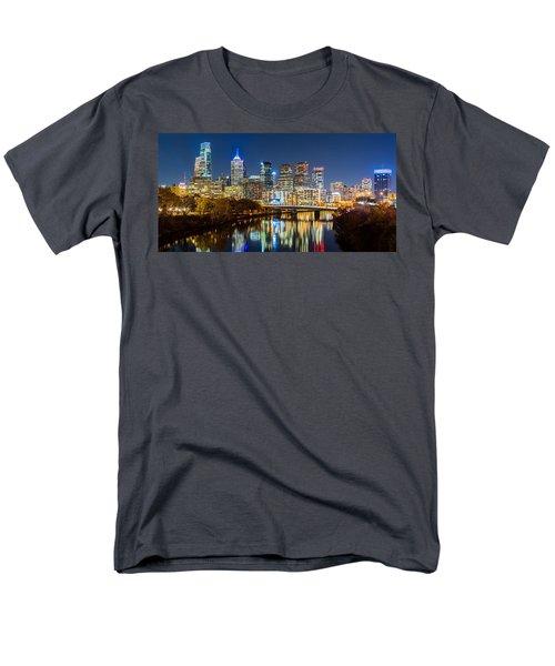 Philadelphia Cityscape Panorama By Night Men's T-Shirt  (Regular Fit) by Mihai Andritoiu