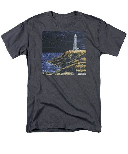 Men's T-Shirt  (Regular Fit) featuring the painting Pigeon Lighthouse Night Scumbling Complementary Colors by Ian Donley