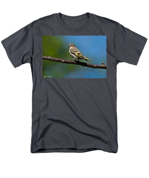 Pine Siskin Perched On A Branch Men's T-Shirt  (Regular Fit) by Jeff Goulden