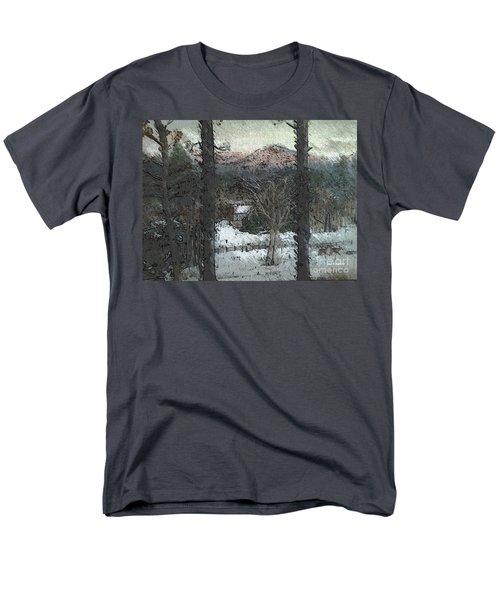 Snow - Pink Mountain - Blueridge Mountains Men's T-Shirt  (Regular Fit) by Jan Dappen