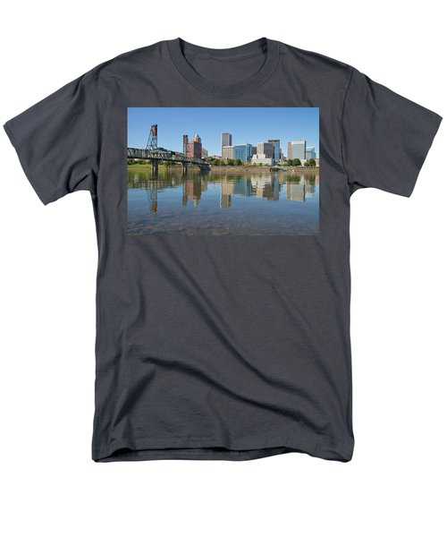 Men's T-Shirt  (Regular Fit) featuring the photograph Portland Downtown Skyline And Hawthorne Bridge by JPLDesigns