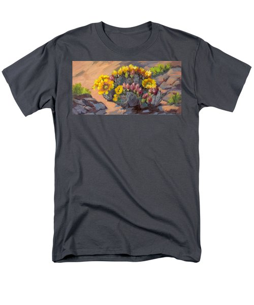 Prickly Pear Cactus In Bloom Men's T-Shirt  (Regular Fit) by Diane McClary