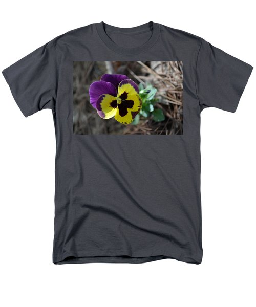 Men's T-Shirt  (Regular Fit) featuring the photograph Purple And Yellow Pansy by Tara Potts