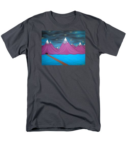 Men's T-Shirt  (Regular Fit) featuring the pastel Purple Mountains by Robert Nickologianis