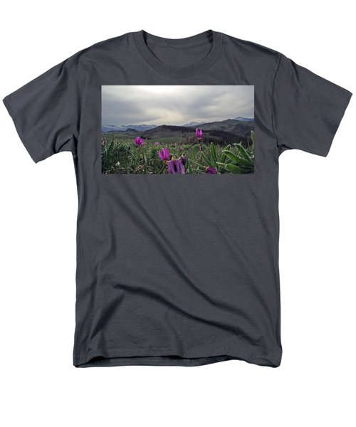 Men's T-Shirt  (Regular Fit) featuring the digital art Purple Spring In The Big Horns by Cathy Anderson
