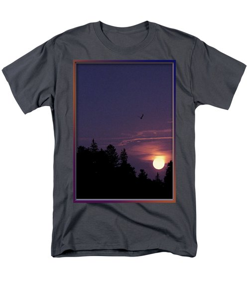 Men's T-Shirt  (Regular Fit) featuring the photograph Purple Sunset With Sea Gull by Peter v Quenter