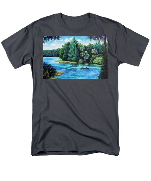 Men's T-Shirt  (Regular Fit) featuring the painting Rainbow River At Rainbow Springs Florida by Penny Birch-Williams
