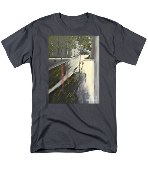 Men's T-Shirt  (Regular Fit) featuring the painting Rainy Street In Melbourne by Pamela  Meredith