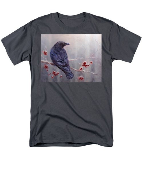 Raven In The Stillness - Black Bird Or Crow Resting In Winter Forest Men's T-Shirt  (Regular Fit) by Karen Whitworth