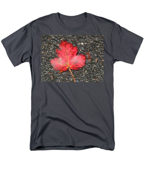 Men's T-Shirt  (Regular Fit) featuring the photograph Red Leaf On Pavement by Barbara McDevitt