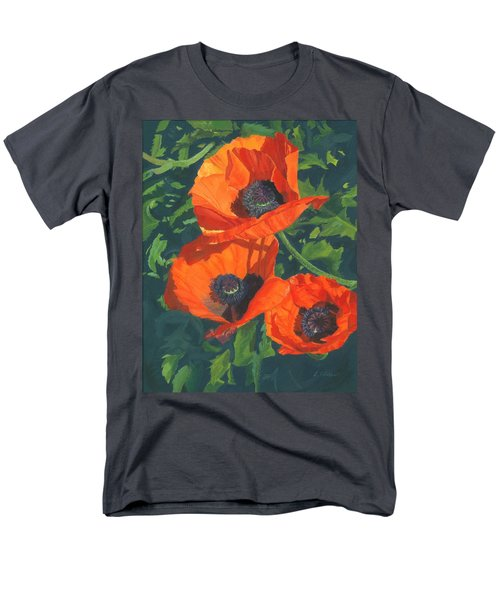 Men's T-Shirt  (Regular Fit) featuring the painting Red Poppies Three by Lynne Reichhart