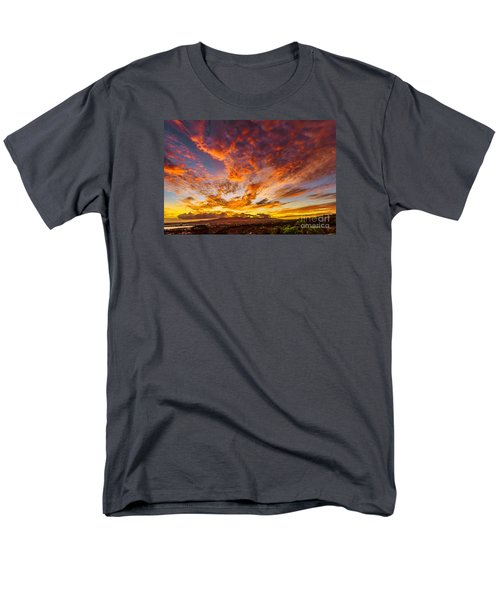 Red Sunset Behind The Waianae Mountain Range Men's T-Shirt  (Regular Fit) by Aloha Art