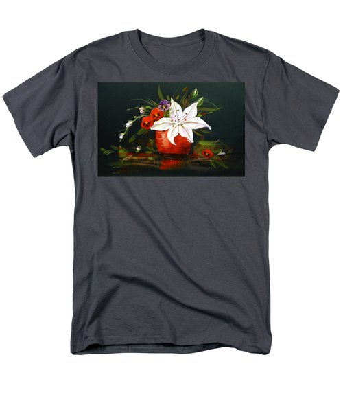 Men's T-Shirt  (Regular Fit) featuring the painting Red Vase With Lily And Pansies by Dorothy Maier