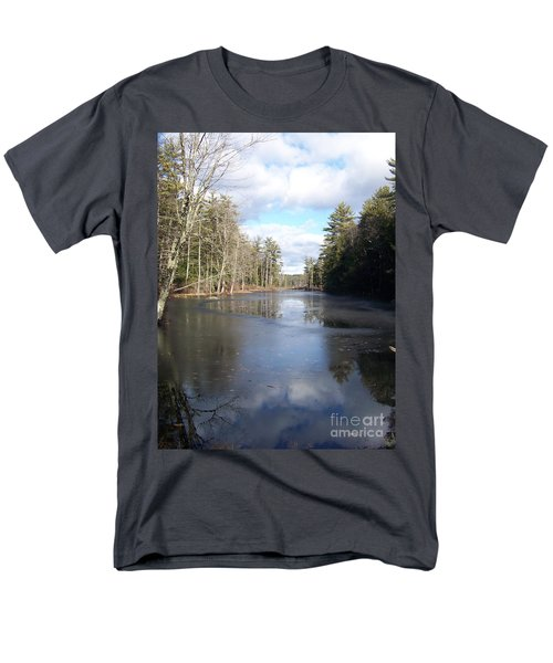 Reflections Caught On Ice At A Pretty Lake In New Hampshire Men's T-Shirt  (Regular Fit) by Eunice Miller