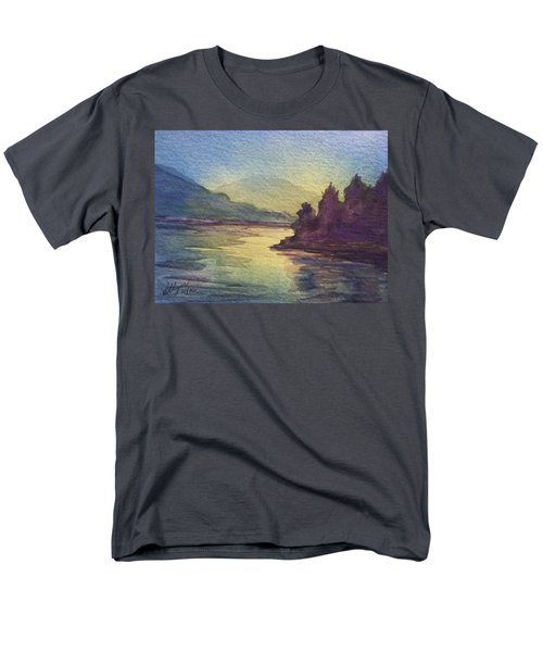 Men's T-Shirt  (Regular Fit) featuring the painting Reflections On North South Lake by Ellen Levinson