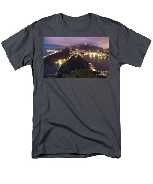 Rio Evening Cityscape Panorama Men's T-Shirt  (Regular Fit) by Mike Reid