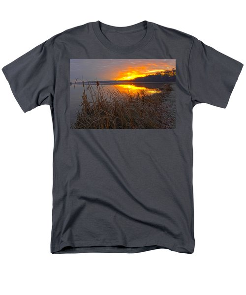 Men's T-Shirt  (Regular Fit) featuring the photograph Rising Sunlights Up Shore Line Of Cattails by Randall Branham