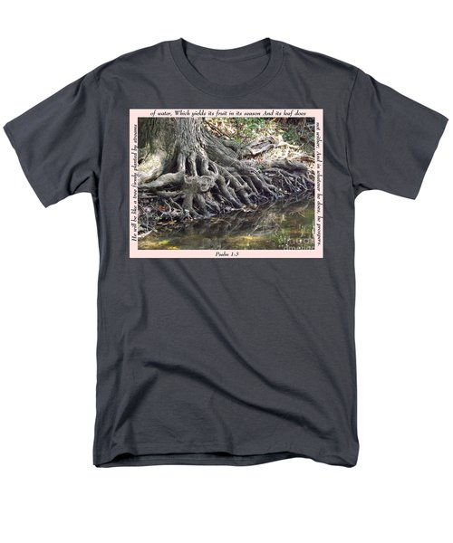 Roots With Verse Psalm 1 3 Men's T-Shirt  (Regular Fit) by Sara  Raber