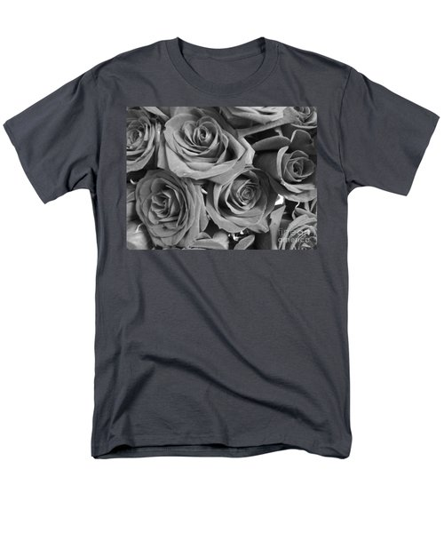 Men's T-Shirt  (Regular Fit) featuring the photograph Roses On Your Wall Black And White  by Joseph Baril
